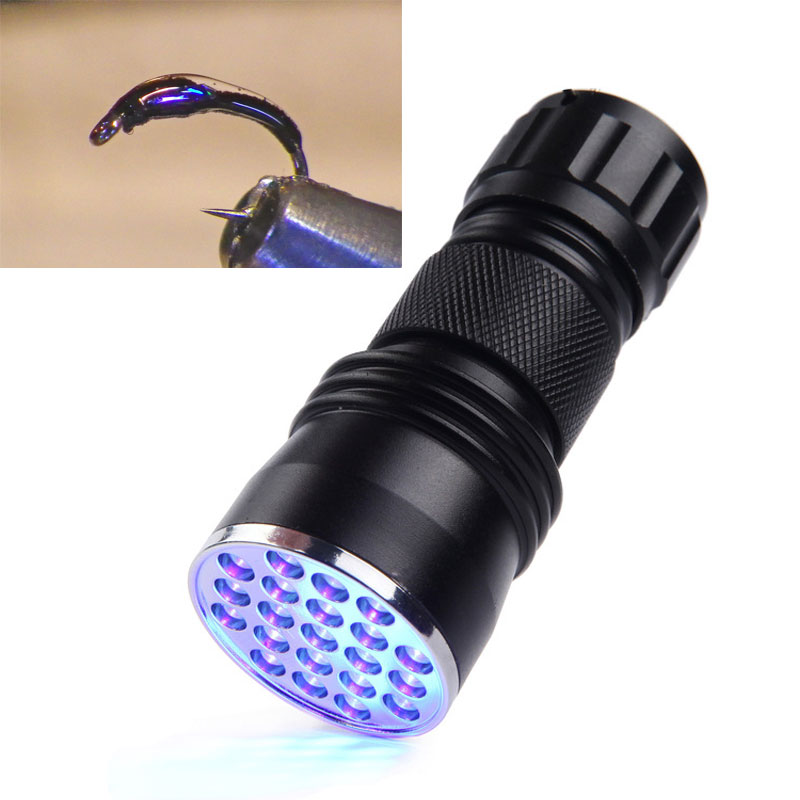 21LED Universal UV Lim Cure Light Fackla för Fly Tying Fly Fishing Tools