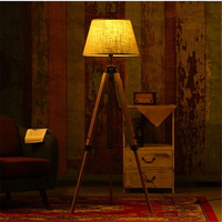 Wonderland Fabric Lampshade Wood Floor Lamp American Rustic Vintage Art Country Decoration Foyer/Home/Living Room/Bedside F 01