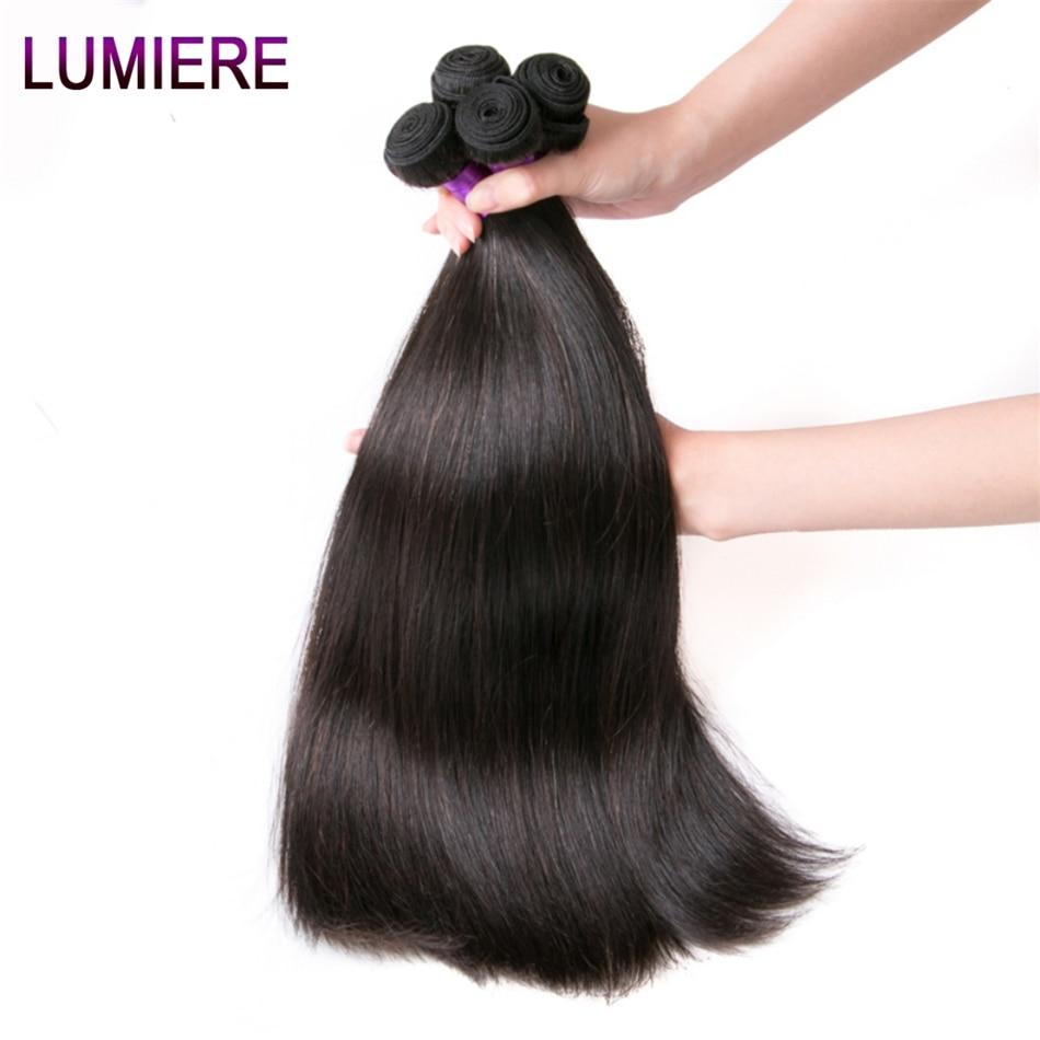 Lumiere Hair Perui taisni matu pieaudzēšanas līdzekļi Remy Hair - Cilvēka mati (melnā krāsā) - Foto 3