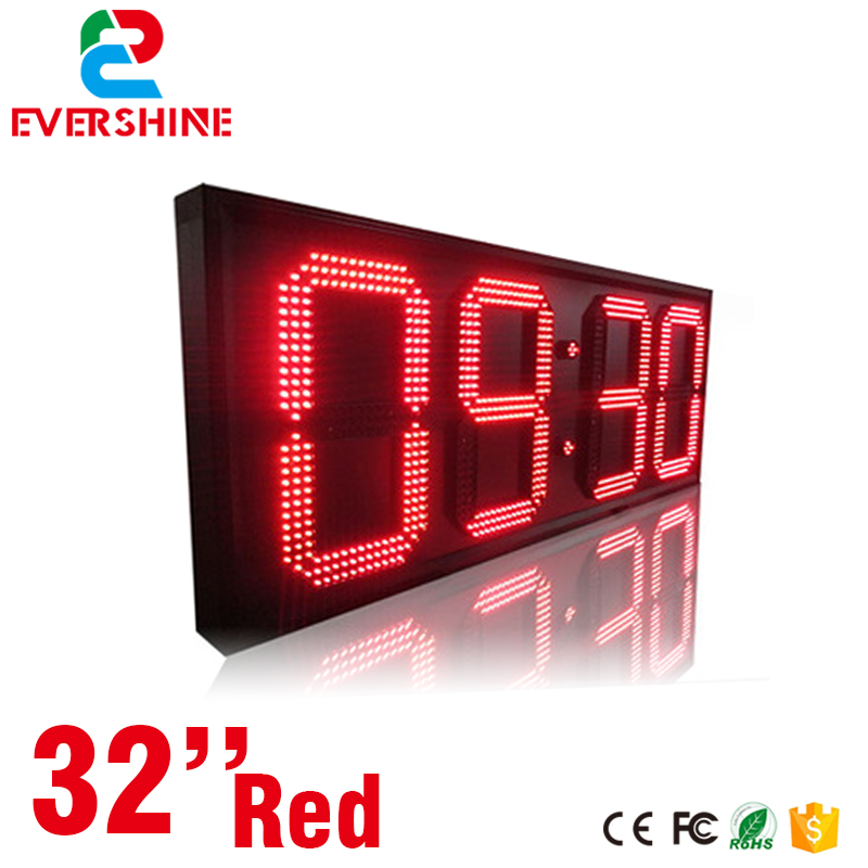 32'' large led countdown clock red color led digital sign size 2500x1000x90mm outdoor display board