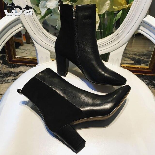 Bb короткий толстый каблук сапоги лоскутное туфли на высоком каблуке колено высокие сапоги скраб из натуральной кожи цвет блока украшения сапоги