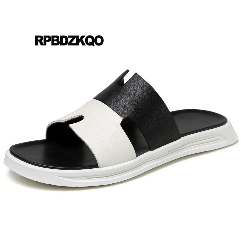 c0be39a8b Slides Summer Soft Genuine Leather Sport Sandals Slippers Designer Shoes Men  High Quality White Platform Native Sneakers Fashion