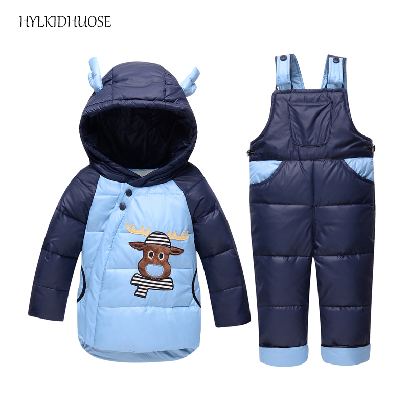 HYLKIDHUOSE 2017 Winter Infant Clothes Sets Baby Girls Boys Down Suits Outdoor Thick Coats+Bib Pants Children Kids Warm Suits baby girls boys winter clothes sets children infant suits kids thick plaid warm coats pants two piece suit children kids suits