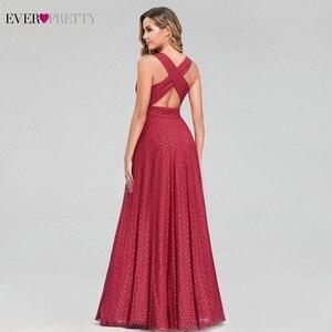 Image 3 - נקודה אדומה ערב שמלות ארוך פעם די אונליין צווארון V שרוולים שמלות רשמיות סקסי מסיבת קיץ שמלות Robe De Soiree 2020