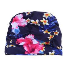 Печать цветок плиссированные наушники протектор шапочка для плавания для женщин