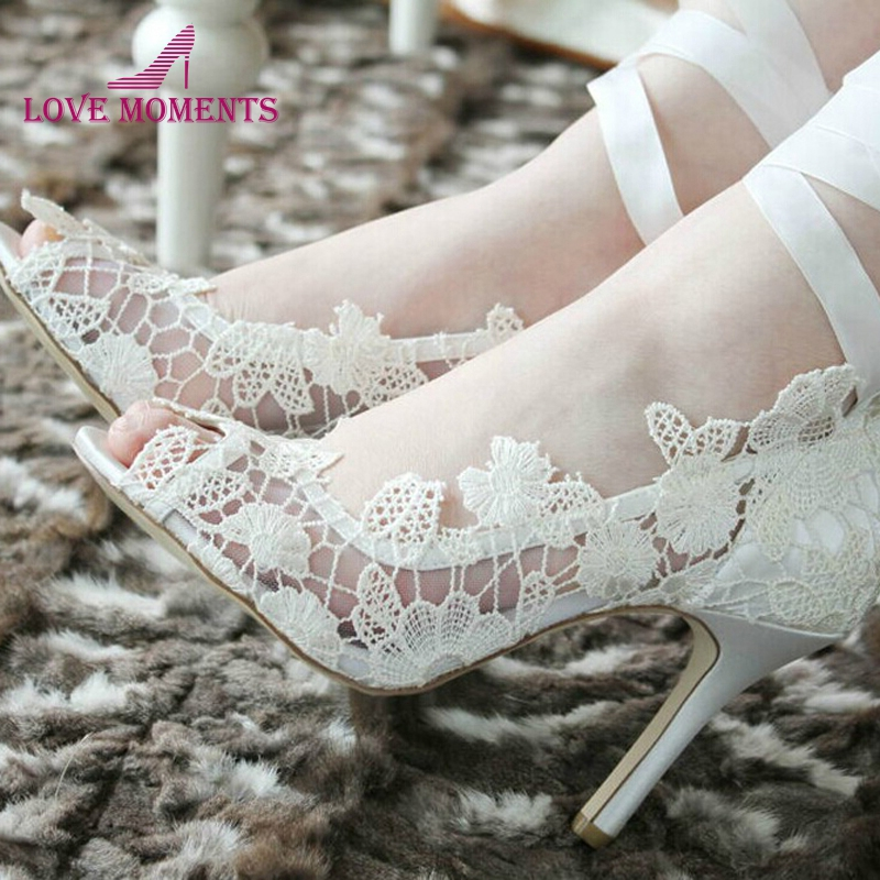 Fashion White high heel Lace Flower bridal wedding shoes Flower Lady Peep Toe Shoes for Wedding Graduation Party Prom Shoes fashion white lace high heel wedding bridal shoes bridesmaid dress shoes elegant party embellished prom shoes lady dancing shoes