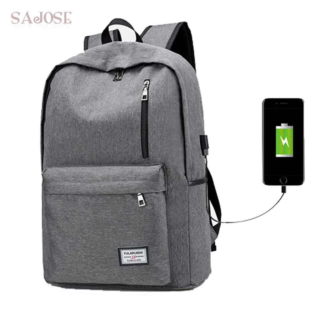 Leisure Gray External USB Charge Backpack Male Mochila Escolar Laptop Backpack men women ...
