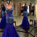 Luxo Brilhante Mulheres Do Partido Longo Sereia Vestido de Noite Azul Royal Cristal Glitter Prom vestidos Formais Vestidos de Noite Desgaste