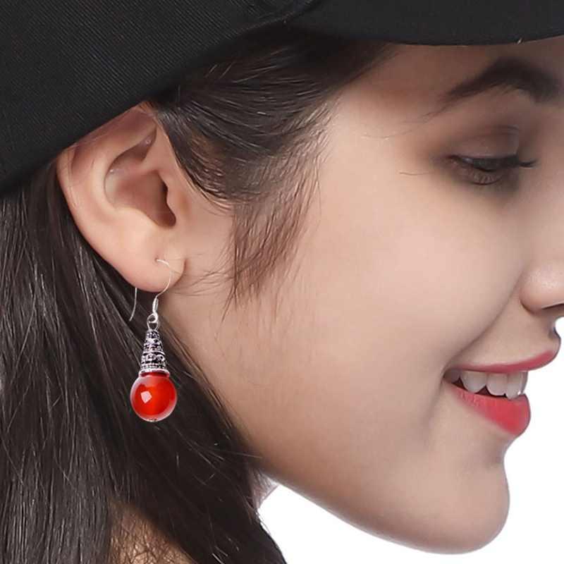 1 par 3*1 cm Vintage señoras pendientes joyería fina gota pendientes para mujeres pequeño Natural ágata roja redonda de Aretes