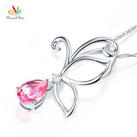 Peacock Star 14K White Gold Pink Topaz Pear Cut Butterfly Pendant Necklace 0.03 Carat Diamond