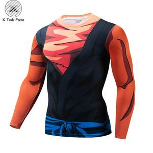 Dragon Ball Print t shirts Men Compression fitness shirts Superhero Tops Goku costume Mexico jersey Fitness T-shirts Drop Ship