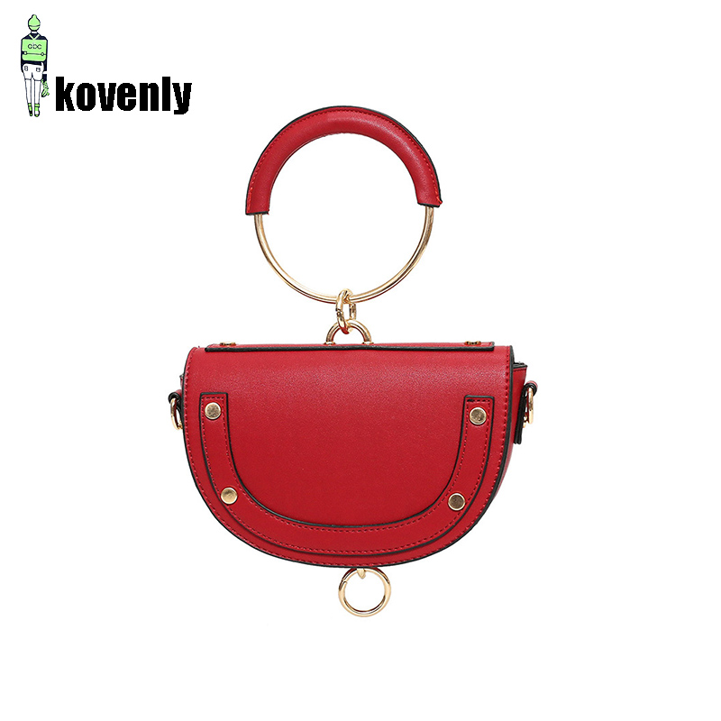 Women Saddle Bag Fashion PU Half Round Handle Bag Genuine Leather Shoulder Pack Leather Mini  Circle Ring Handbag B59