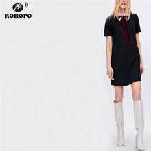 ROHOPO Preppy Style Women Black White Chic Dress Embroidery Turn Down Collar Tie Sweet Female Patchwork Mini Vestido #UK8601
