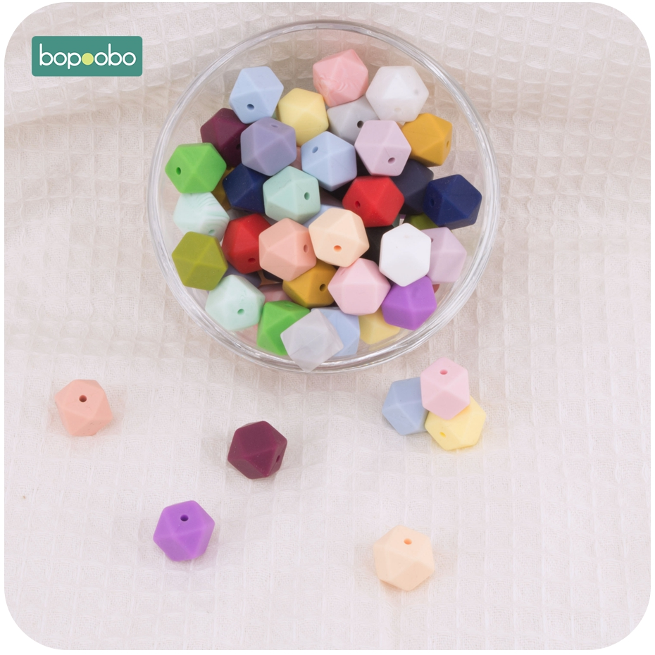 Bopoobo 10pcs 14mm Mini Hexagon Round Silicone Beads Baby Teether Eco-friendly BPA Free Baby Teething Toys Pacifier Chain Beads