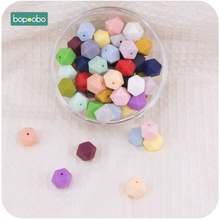Bopoobo 10pcs 14mm Mini Hexagon Round Silicone Beads Baby Teether Eco-friendly BPA Free Teething Toys Pacifier Chain