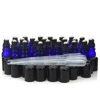 24X5 ml שמן אתרי זכוכית הכחולה קובלט רול על בקבוקים צלוחיות עם מכסה כובע כדור רולר נירוסטה עבור ארומתרפיה בושם