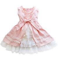 Bébé fille robe Printemps et D'été enfants école Vêtements abricot/rose robes de Princesse de Fête D'anniversaire Enfants 3 4 8 10 11 ans