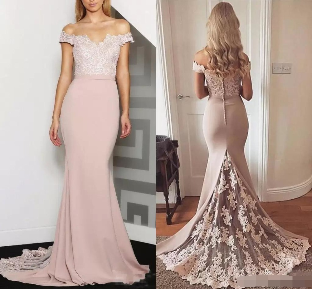 2019 Off the Shoulder Slim Mermaid   Bridesmaid     Dresses   Lace Appliques Plus Size Formal Maid of Honor Gowns Custom Online Vestidos