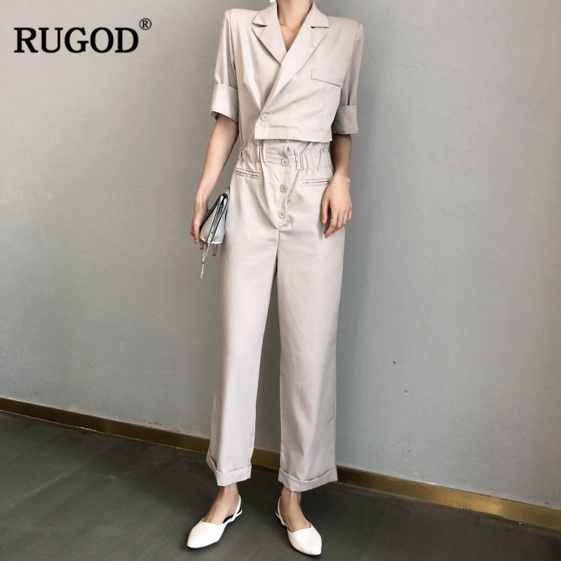 RUGOD New Casual Jumpsuits Women Notched Half Sleeve Suit set For Women 2018 Slim Fashion rompers womens Suit set