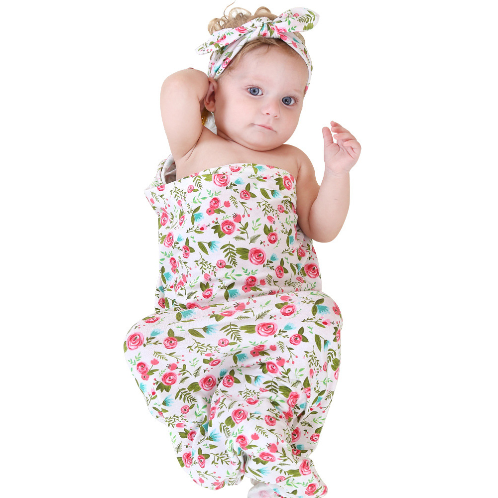 Swaddle recién nacido Headwrap Hospital Swaddled Set Floral Swaddle Baby Set Diadema Bebé Foto Prop Top nudos