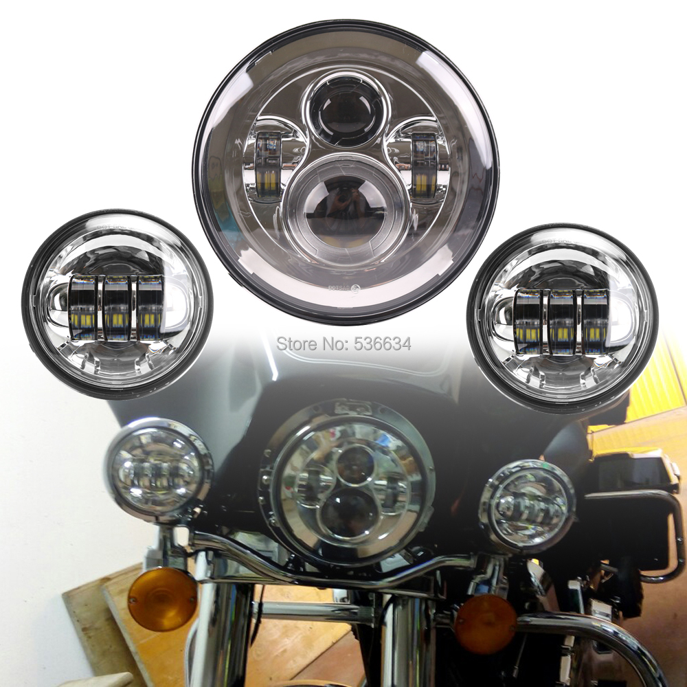 For Chrome Harley Daymaker 7 Inch Round LED Projector Headlight with Matching 4.5 Inch LED Passing Lamps For Indian Chieftain