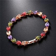 1 PC Shiny Bling Women Zircon Bracelet Colorful heart Copper Bracelets For Jewelry