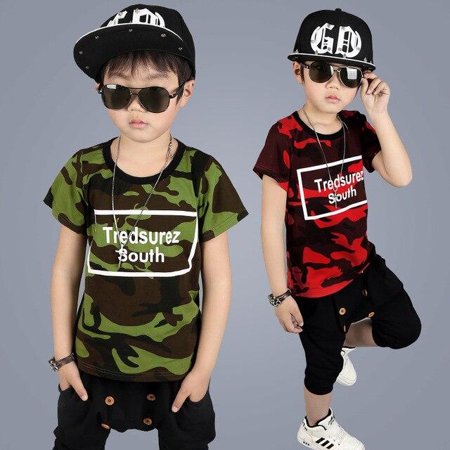 1611a36cb Trajes militares de los niños niños ropa conjuntos de verano 2017 nuevo niño  ocasional militar traje