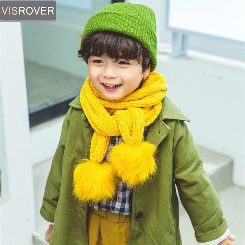 Visrover Yellow Children Winter Knitted Scarf for Boy Girl Kid Chenille Pompom Scarf Unisex Neck Warm Soft Ball Snood Scarves knitting