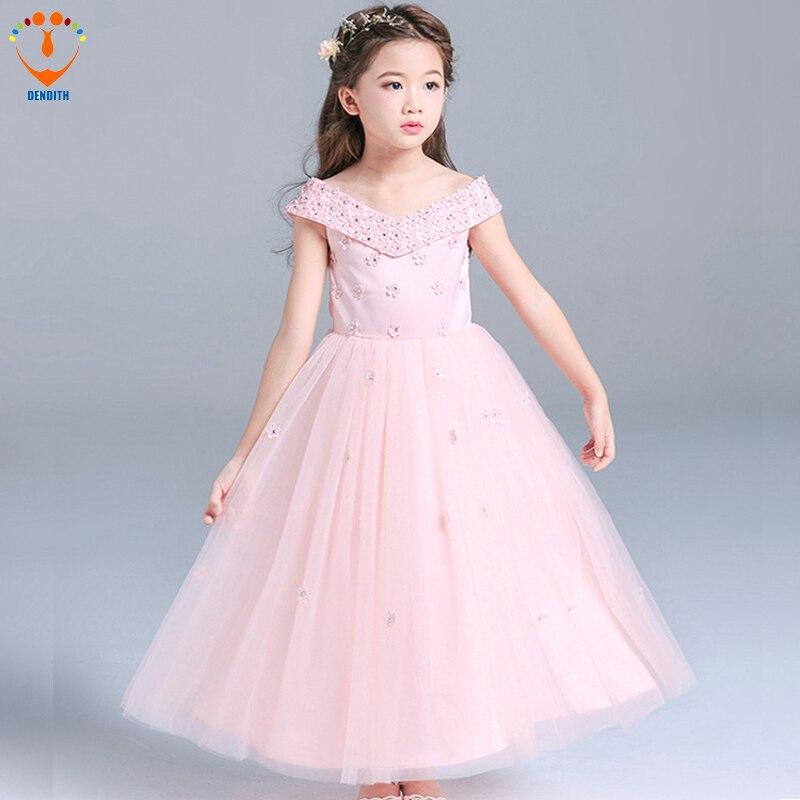 2018 Girls V-neck Ball Gown lace Dress baby girls flower wedding dress girl long dress bow pink children clothing v neck high waist lace dress