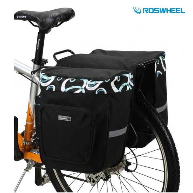 New ROSWHEEL Rainproof Polyester Mountain Road Bicycle Bike Bags Cycling Double Side Rear <font><b>Rack</b></font> Tail <font><b>Seat</b></font> Trunk Bag Pannier 30L