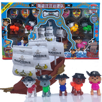 The New Paw Patrol Dogs Pirate Ship Rescue Base Set Vehicle Toy Anime Action Figures Model Kids Birthday Best Gift