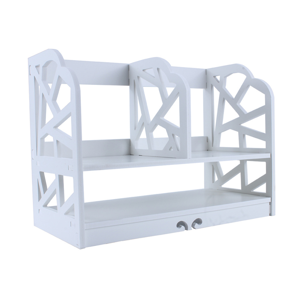 Image 5 - 2 Tiers DIY Shelving CD Book Storage Box Unit Display Bookcase Commodity Stationery Shelf  Student Desk Home Office-in Bookcases from Furniture