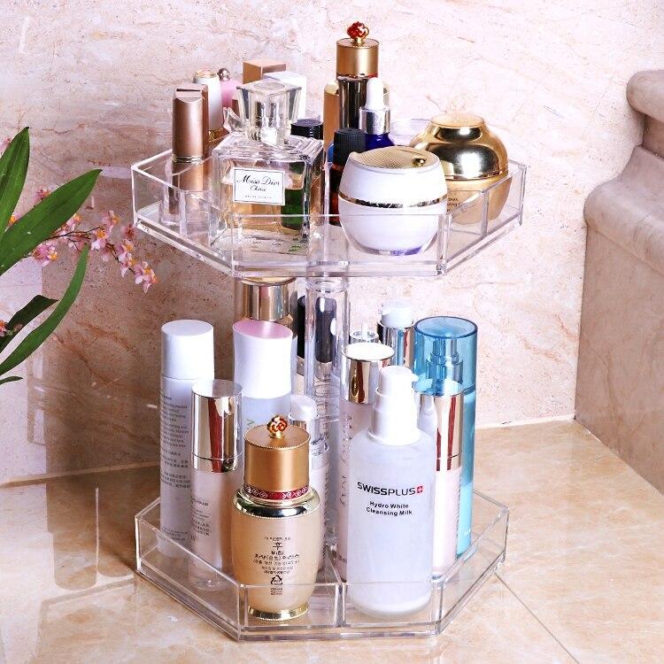 Makeup Transparent Acrylic Rotating Cosmetic Storage Box Shelf Desktop Skin Care Lipstick Cosmetic Box Dresser