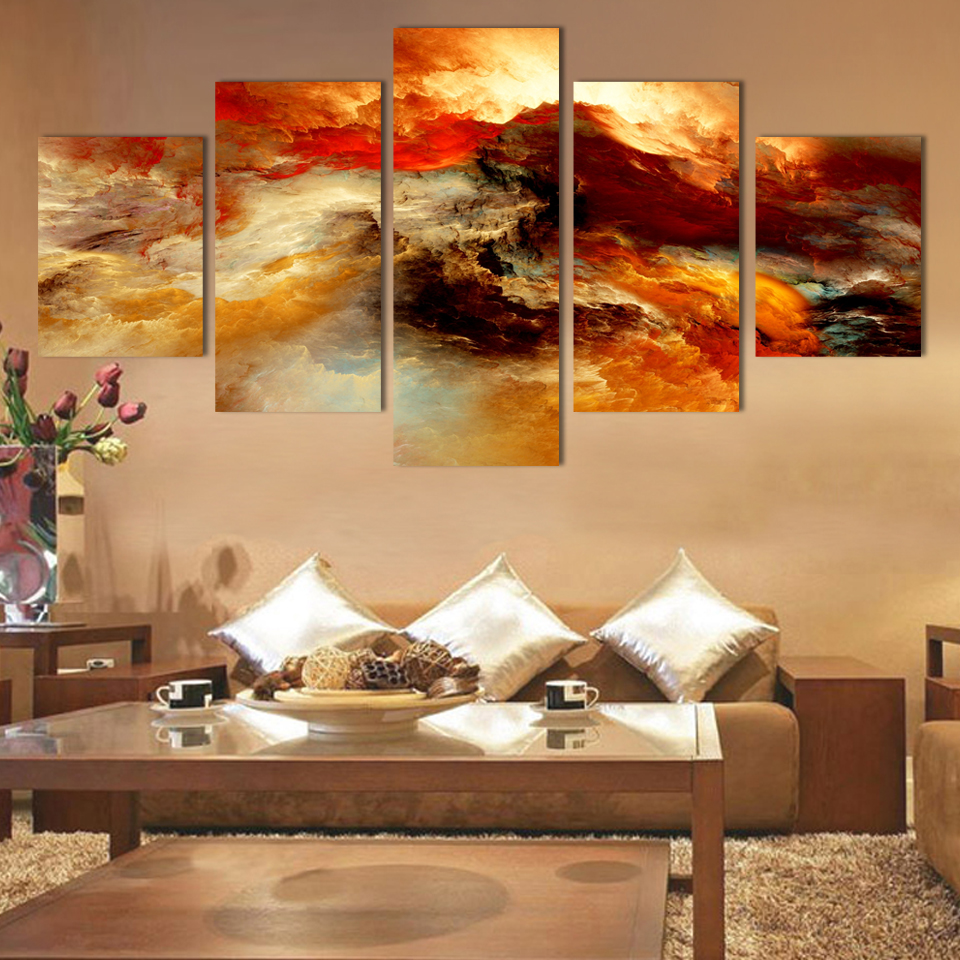 Decoration Tableau Peinture Us 19 88 Cuadros Fashion 5 Pcs Canvas Art Abstract Painting Color Cloud Wall Decor Pictures No Framed Tableau Peinture Sur Toile Posters In Painting
