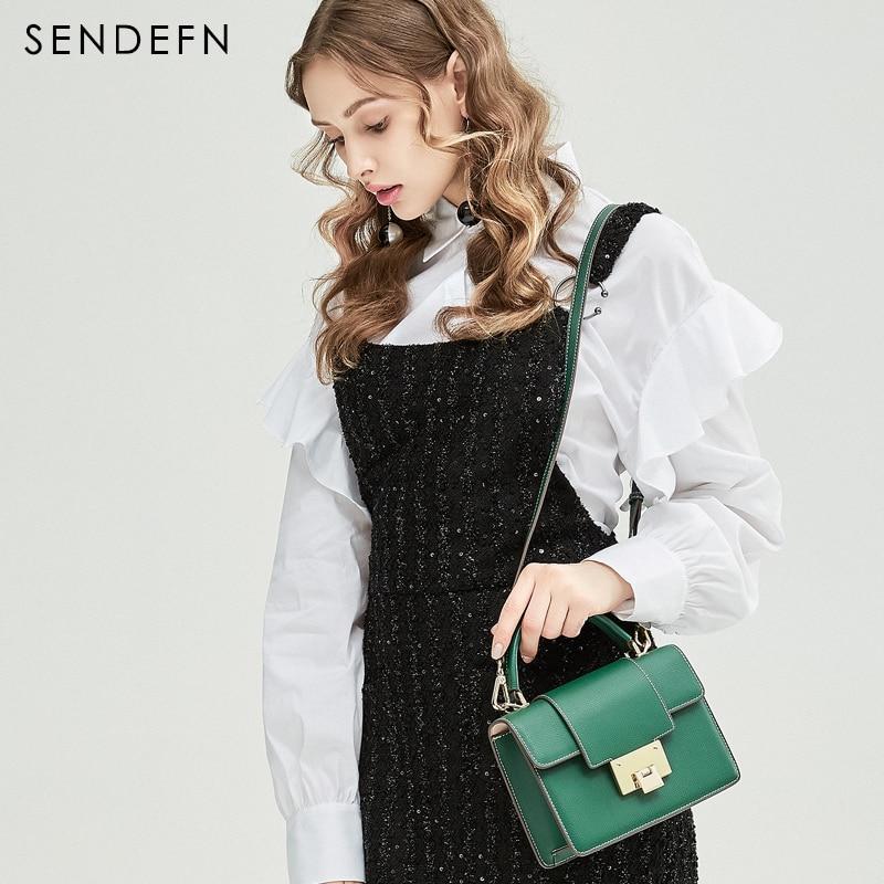 SENDEFN 2018 Spring New Arrival Women Bag Fashion Split Leather Crossbody Bag Adjustable Strip Green Handbag Preppy Style