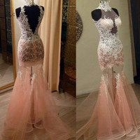 Pink Sexy See Through High Neck Prom Dresses 2018 White Applique Mermaid Long Evening Gowns Backless Vestido de Formatura Courte