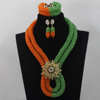 Mix Orange/Green Nigerian African Necklace Wedding Jewelry Set Crystal Bridal Braid Beaded Jewelry Set Free shipping WD475
