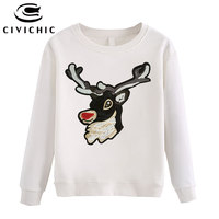 CIVI CHIC Hipster Deer Embroidery Women Hoodie Sequins Stitched Elk Pullover Streetsnap Loose Sweatshirt Thick Cotton Tops WHD17