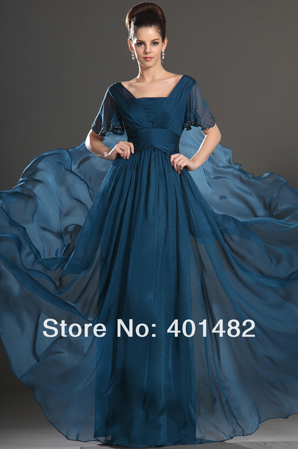 Long Elegnt High Quality LIght Blue Short Sleeves Mother of the Bride Dresses Freeshipping