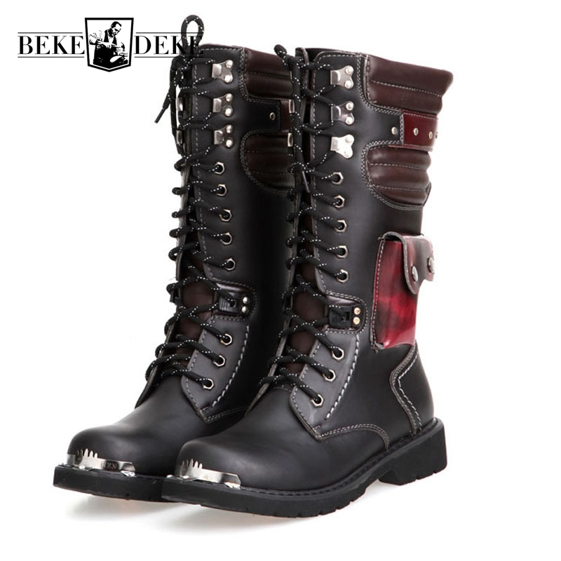 England Style High Help Winter Shoes Mens Knight Boots Lace Up Motorcycle Boots Male Footwear Metal Toe Army Boots Big Size44 45 fashion pointed toe lace up mens shoes western cowboy boots big yards 46 metal decoration page 6