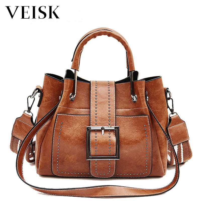 1d38b200f8b VEISK High Quality PU Leather Top handle Women Handbag New Ladies Lether Shoulder  Bag Female Vintage Casual Tote Crossbody Bags-in Top-Handle Bags from ...