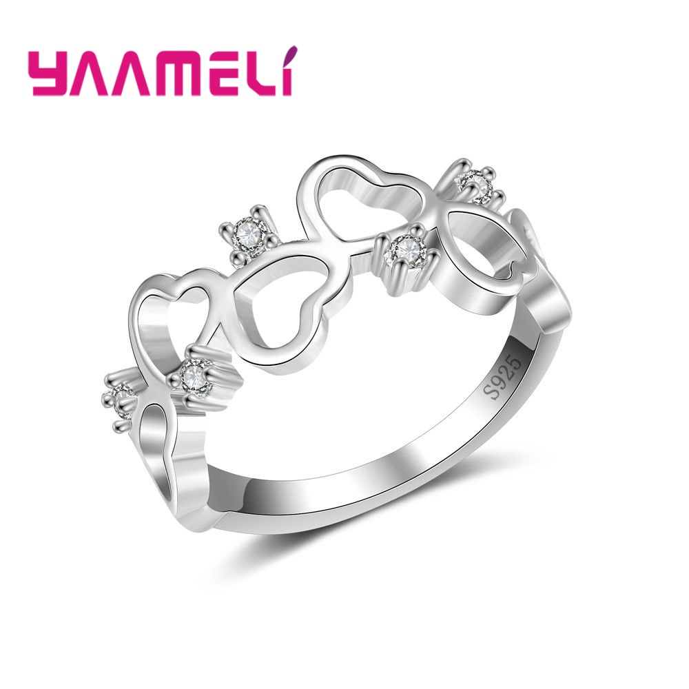 YAAMELI Fashion 100% 925 Silver Heart Shape Finger Rings For Girl Wedding Shiny Cubic Zirconia Simple Design Party Jewelery Ring