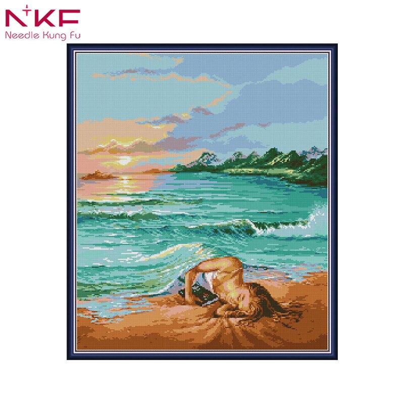 Diamant peinture pleine place/ronde sirène conte de fées fille de la mer diamant peinture mosaïque strass broderie