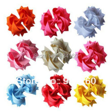 Mix 9 Colors 4 5 Loopie Layered boutique bow headwear headdress clip 18pcs