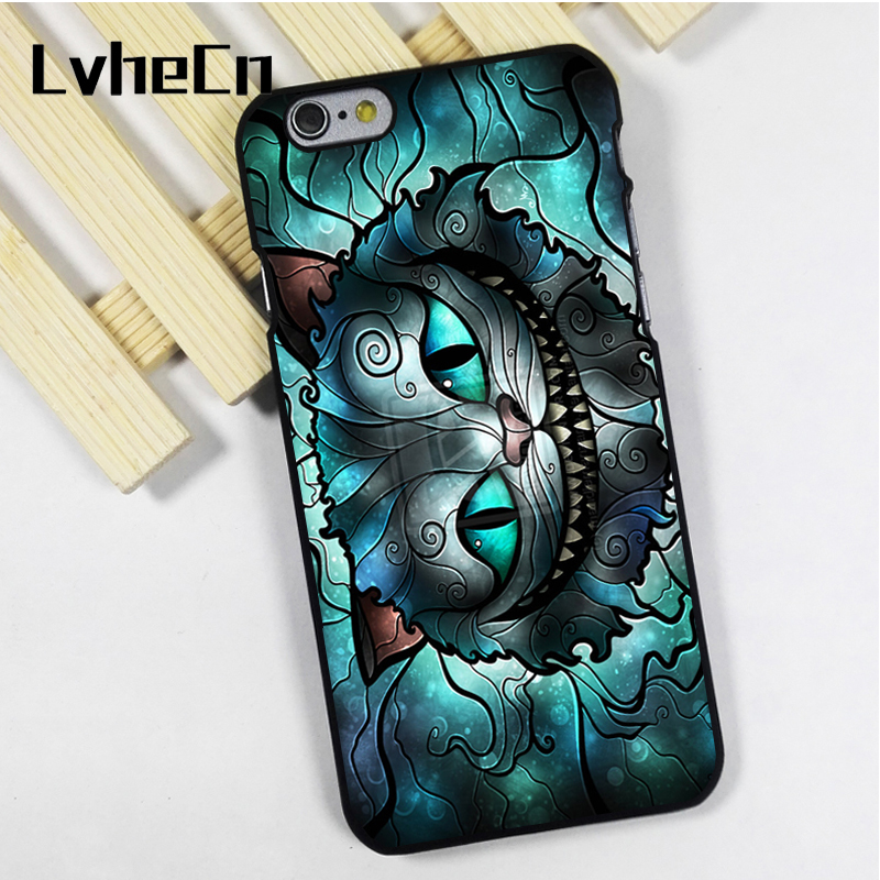 LvheCn phone case cover fit for iPhone 4 4s 5 5s 5c SE 6 6s 7 8 plus X ipod touch 4 5 6 back skins Alice Cheshire Cat
