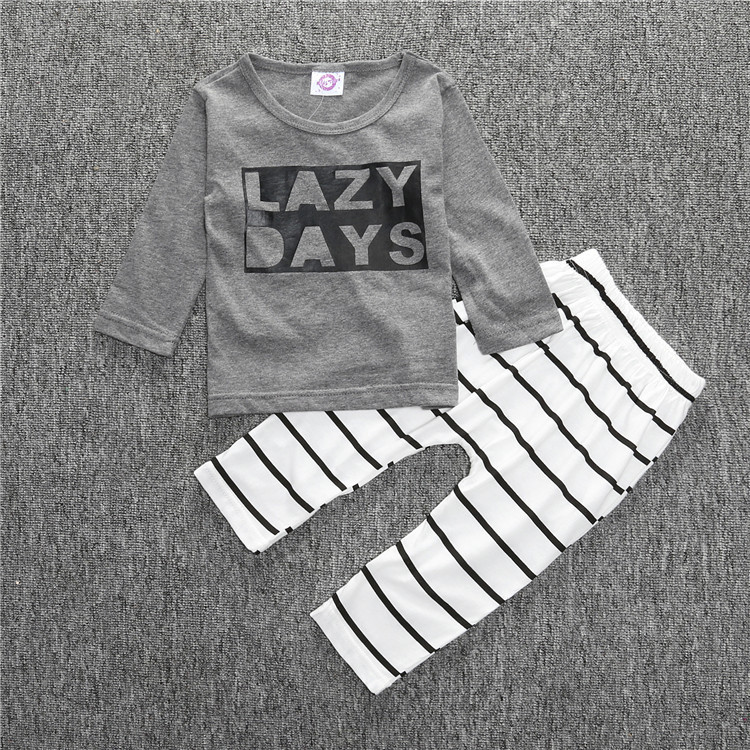 Baby Boy Cool Clothes Autumn Long Sleeve Lazy Days Grey Shirt for boy Strip Long Pants Clothing Set in Clothing Sets from Mother Kids