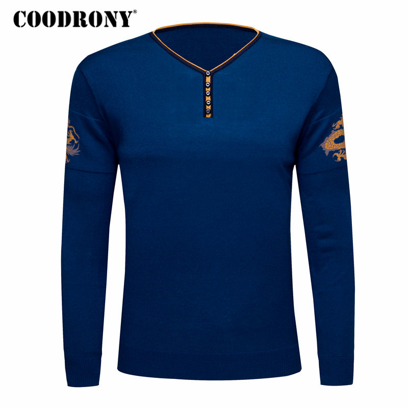 COODRONY Sweater Men Clothes 2018 Autumn Winter Cashmere Wool Mens Sweaters Chinese Style Casual Button V-neck Pullover Men 8186