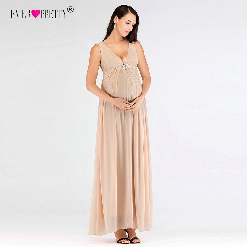 Ever Pretty Pregnant   Bridesmaid     Dresses   Sexy V Neck Long Beaded Plus Size Wedding Party Gowns EP07387BH Vestido De Festa Longo