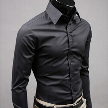 Solid Color Business Slim Fit Long Sleeve Shirt 1