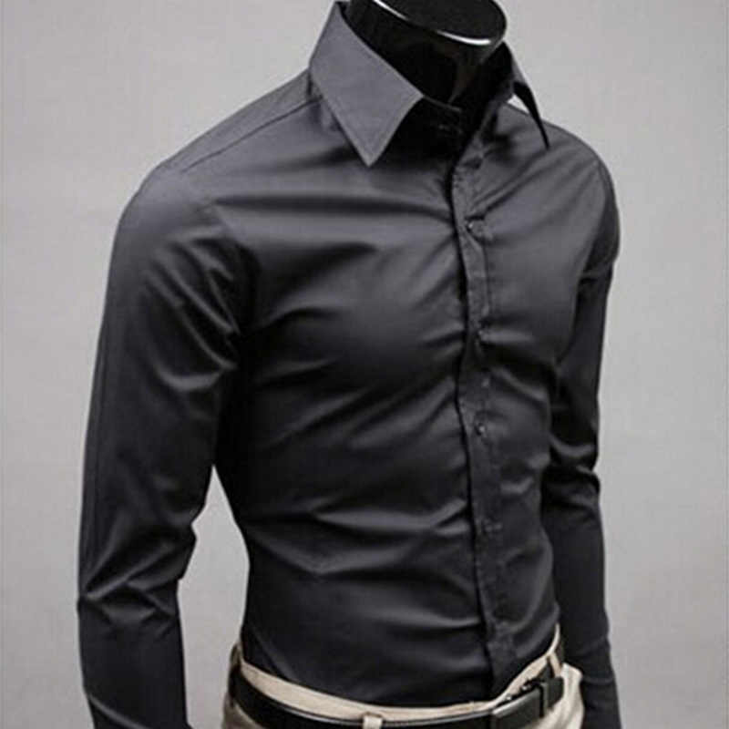 2019Men Shirt Long Sleeve Fashion Mens Casual Shirts Cotton Solid Color Business Slim Fit Social Camisas Masculina RD464